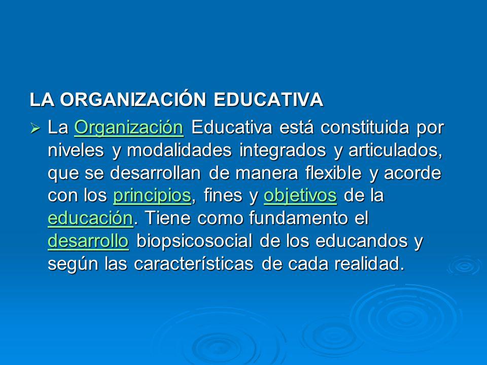 LA ORGANIZACIÓN EDUCATIVA La Organización Educativa está constituida por niveles y modalidades integrados y articulados, que se desarrollan de manera flexible y acorde con los principios, fines y objetivos de la educación.