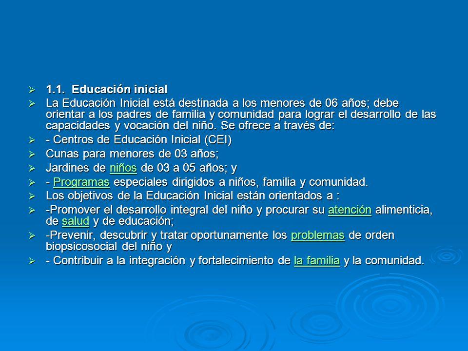 1.1. Educación inicial 1.1. Educación inicial La Educación Inicial está destinada a los menores de 06 años; debe orientar a los padres de familia y co