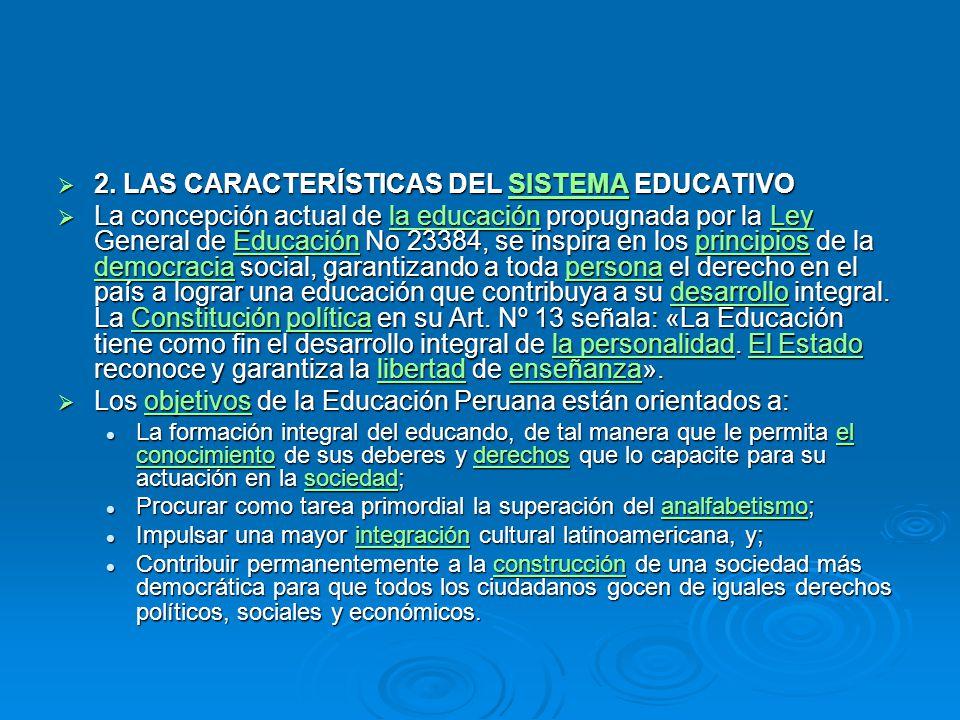 2. LAS CARACTERÍSTICAS DEL SISTEMA EDUCATIVO 2. LAS CARACTERÍSTICAS DEL SISTEMA EDUCATIVOSISTEMA La concepción actual de la educación propugnada por l