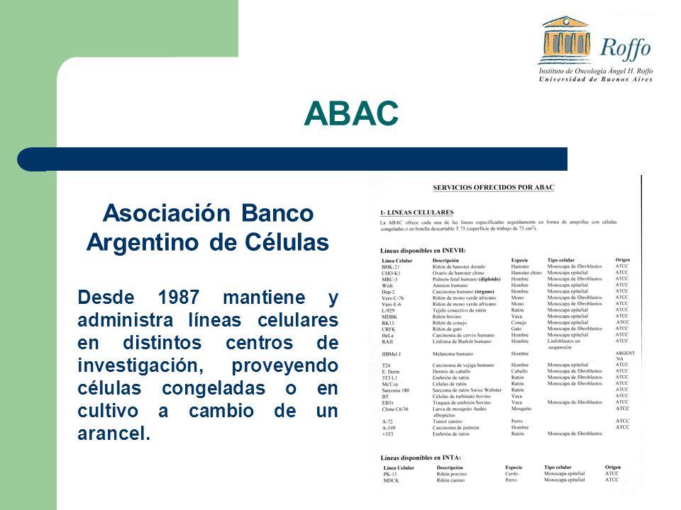 ABAC Asociación Banco Argentino de Células Desde 1987 mantiene y administra líneas celulares en distintos centros de investigación, proveyendo células congeladas o en cultivo a cambio de un arancel.