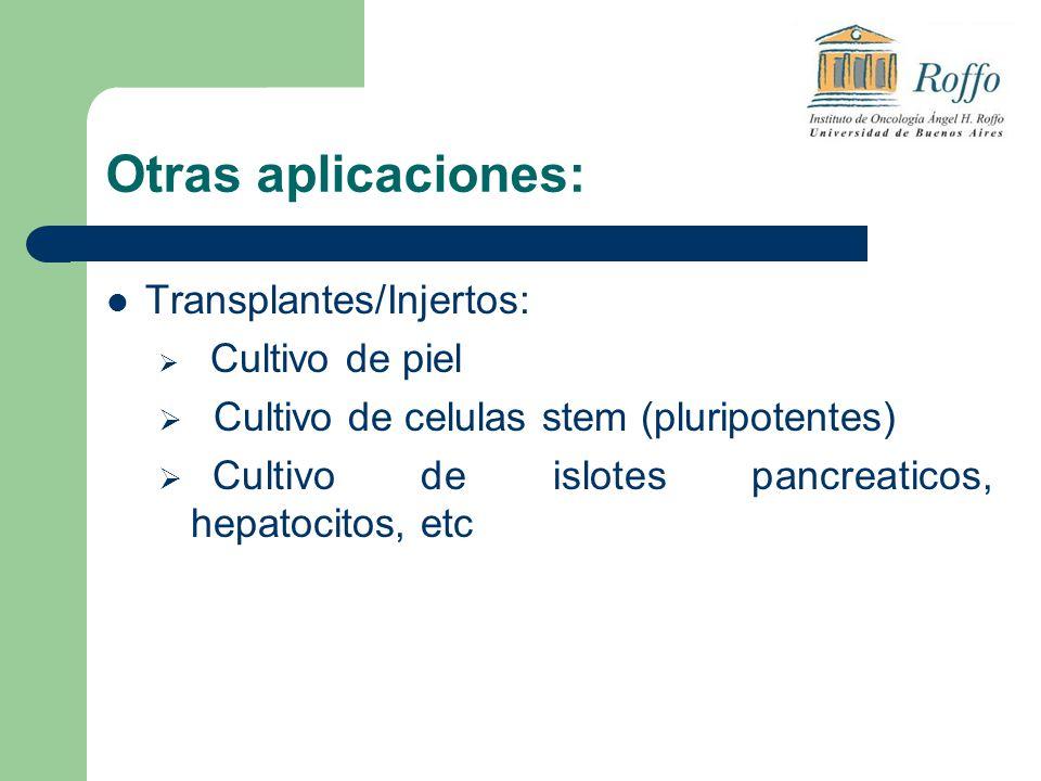 Otras aplicaciones: Transplantes/Injertos: Cultivo de piel Cultivo de celulas stem (pluripotentes) Cultivo de islotes pancreaticos, hepatocitos, etc