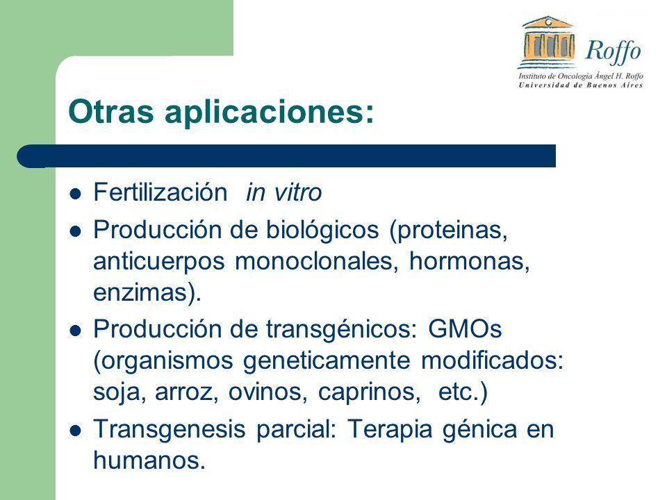 Otras aplicaciones: Fertilización in vitro Producción de biológicos (proteinas, anticuerpos monoclonales, hormonas, enzimas). Producción de transgénic