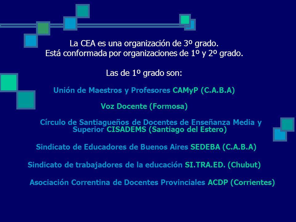 La CEA es una organización de 3º grado. Está conformada por organizaciones de 1º y 2º grado.