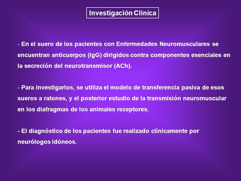 Investigación Clínica - En el suero de los pacientes con Enfermedades Neuromusculares se encuentran anticuerpos (IgG) dirigidos contra componentes ese
