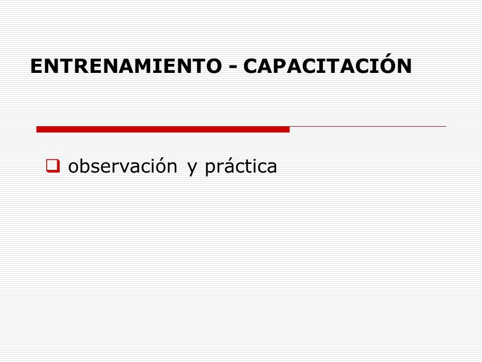 ENTRENAMIENTO - CAPACITACIÓN observación y práctica supervisor de la práctica habilidades para mostrar y describir procedimientos; observación sistemática del desempeño del alumnos; brindar feed- back