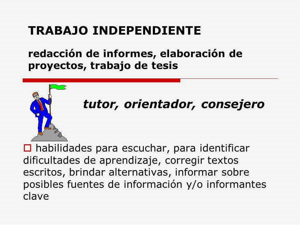 TRABAJO INDEPENDIENTE redacción de informes, elaboración de proyectos, trabajo de tesis tutor, orientador, consejero habilidades para escuchar, para i