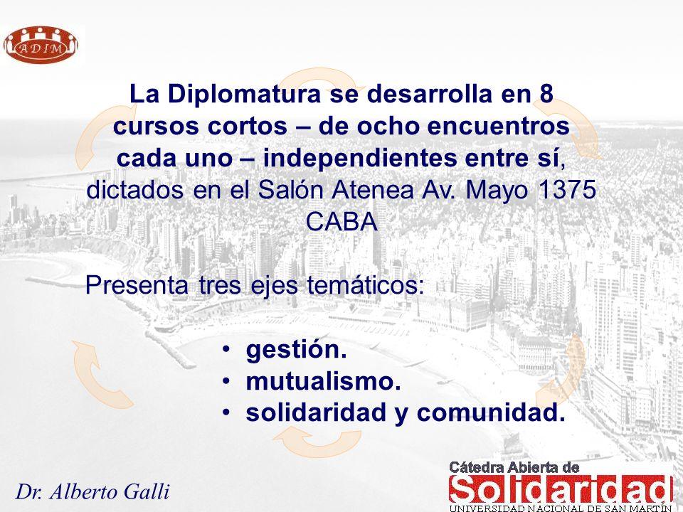 Dr. Alberto Galli La Diplomatura se desarrolla en 8 cursos cortos – de ocho encuentros cada uno – independientes entre sí, dictados en el Salón Atenea