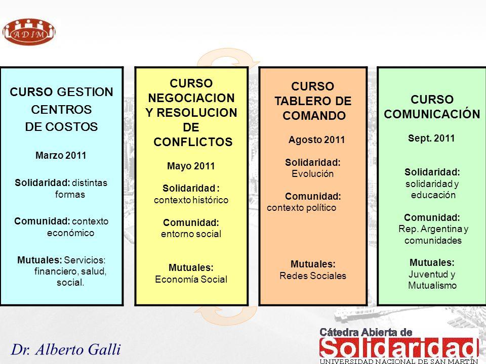 Dr. Alberto Galli CURSO GESTION CENTROS DE COSTOS Marzo 2011 Solidaridad: distintas formas Comunidad: contexto económico Mutuales: Servicios: financie