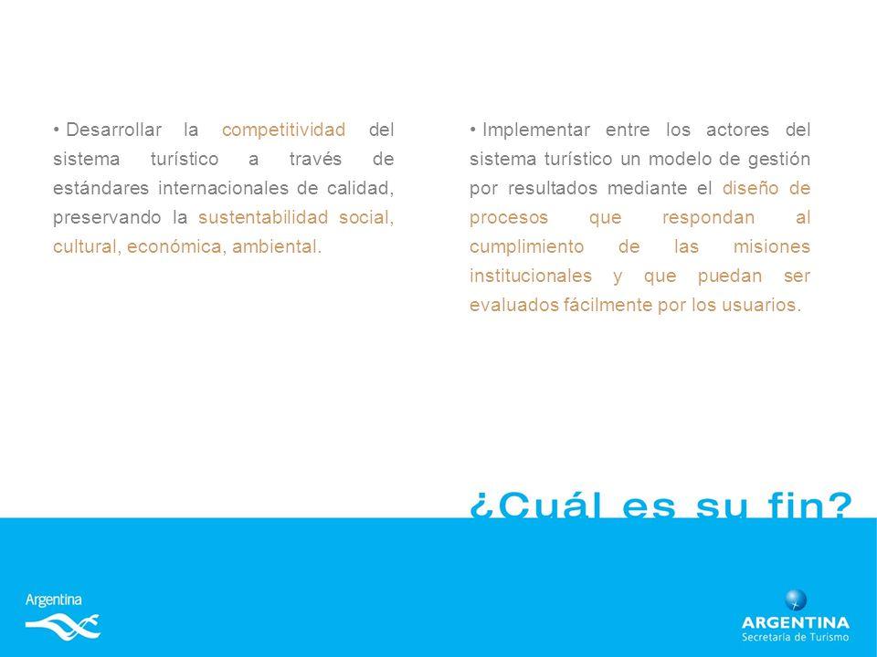Implementar entre los actores del sistema turístico un modelo de gestión por resultados mediante el diseño de procesos que respondan al cumplimiento de las misiones institucionales y que puedan ser evaluados fácilmente por los usuarios.