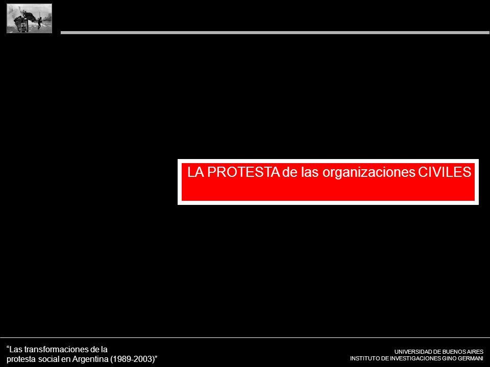 UNIVERSIDAD DE BUENOS AIRES INSTITUTO DE INVESTIGACIONES GINO GERMANI Las transformaciones de la protesta social en Argentina (1989-2003) LA PROTESTA de las organizaciones CIVILES