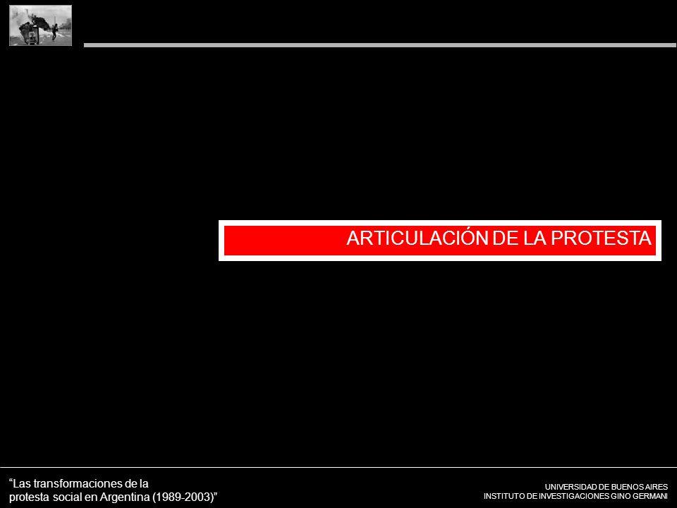 UNIVERSIDAD DE BUENOS AIRES INSTITUTO DE INVESTIGACIONES GINO GERMANI Las transformaciones de la protesta social en Argentina (1989-2003) ARTICULACIÓN