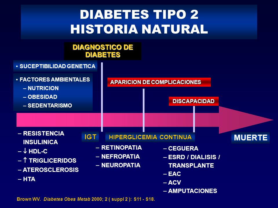 DIABETES TIPO 2 HISTORIA NATURAL Brown WV. Diabetes Obes Metab 2000; 2 ( suppl 2 ): S11 - S18. SUCEPTIBILIDAD GENETICA FACTORES AMBIENTALES – NUTRICIO