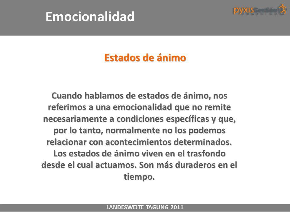 LANDESWEITE TAGUNG 2011 Estados de ánimo Cuando hablamos de estados de ánimo, nos referimos a una emocionalidad que no remite necesariamente a condici