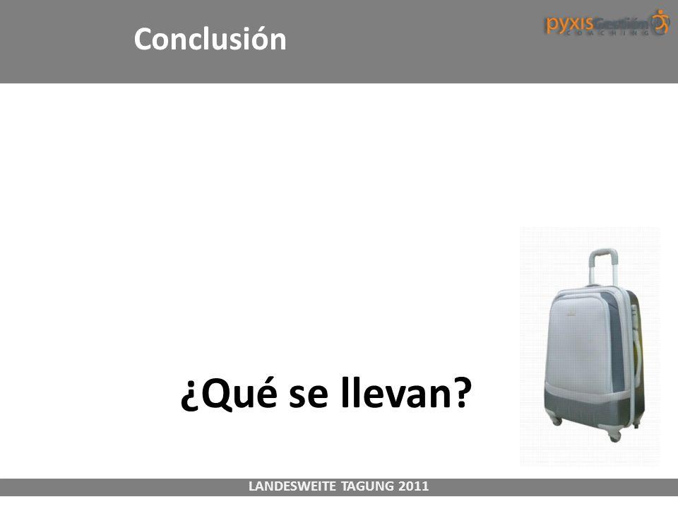 LANDESWEITE TAGUNG 2011 Conclusión ¿Qué se llevan?
