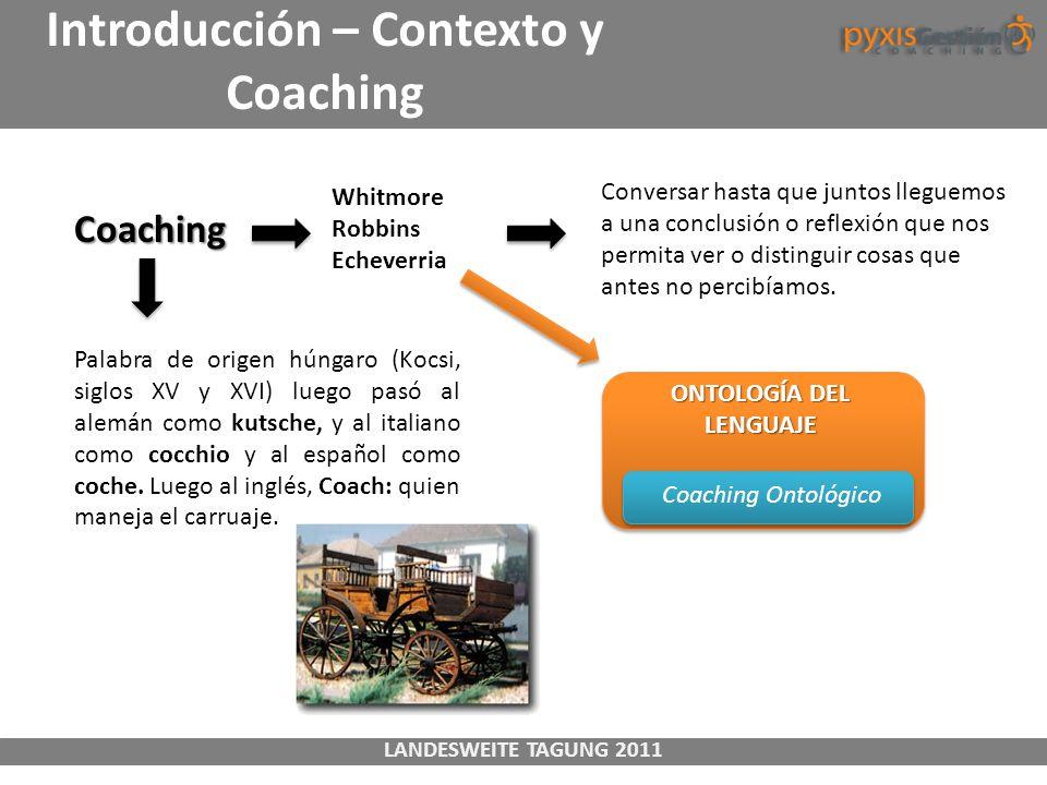 LANDESWEITE TAGUNG 2011 Introducción – Contexto y Coaching Coaching Whitmore Robbins Echeverria Conversar hasta que juntos lleguemos a una conclusión