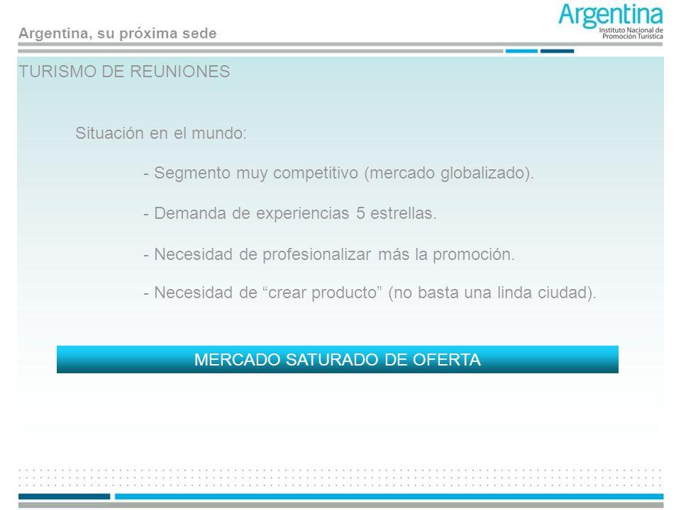 Argentina, su próxima sede TURISMO DE REUNIONES Situación en el mundo: MERCADO SATURADO DE OFERTA - Segmento muy competitivo (mercado globalizado). -