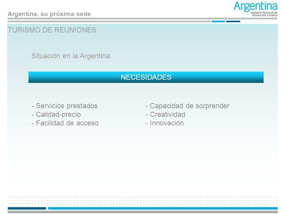 Argentina, su próxima sede TURISMO DE REUNIONES Situación en la Argentina: NECESIDADES - Servicios prestados - Calidad-precio - Facilidad de acceso -