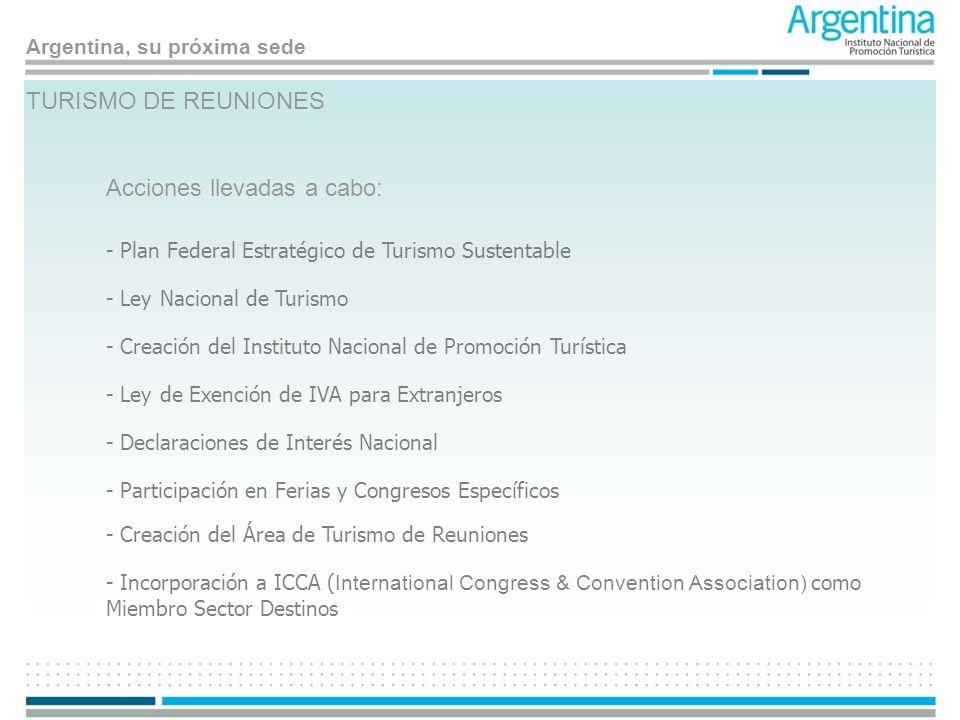 Argentina, su próxima sede TURISMO DE REUNIONES Acciones llevadas a cabo: - Plan Federal Estratégico de Turismo Sustentable - Ley Nacional de Turismo