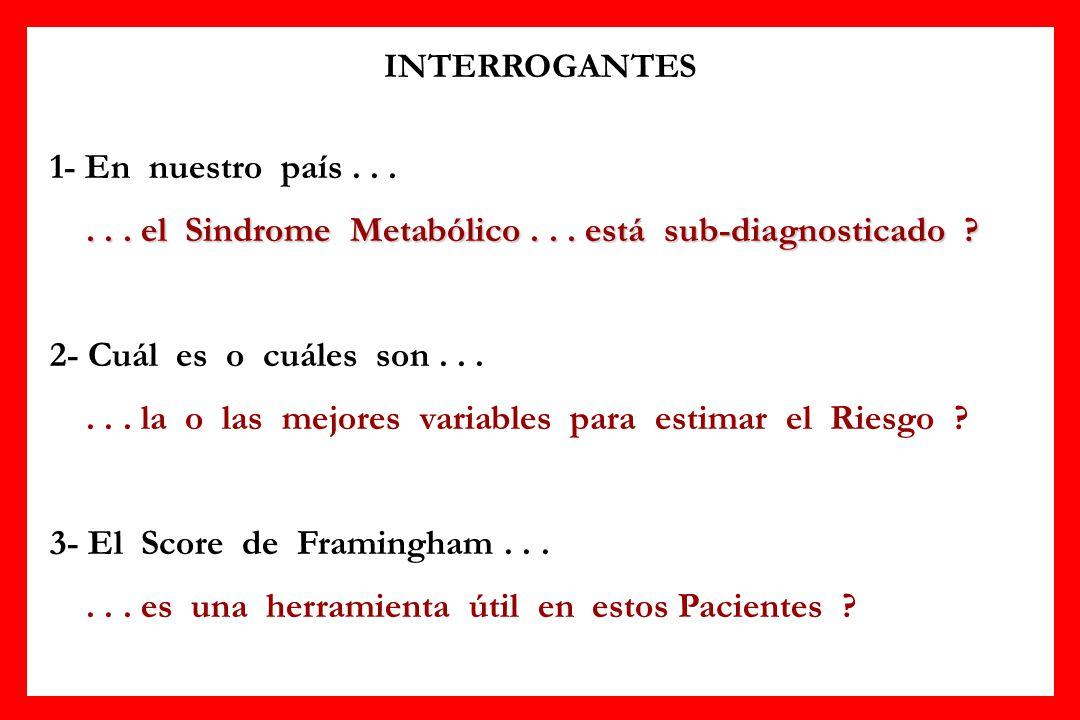 INTERROGANTES 1- En nuestro país...... el Sindrome Metabólico... está sub-diagnosticado ? 2- Cuál es o cuáles son...... la o las mejores variables par