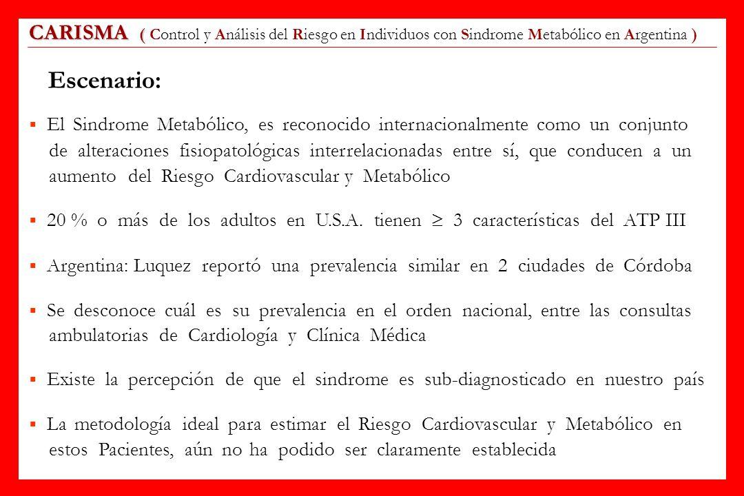 CARISMA ( CARISMA ( Control y Análisis del Riesgo en Individuos con Sindrome Metabólico en Argentina ) Escenario: El Sindrome Metabólico, es reconocid