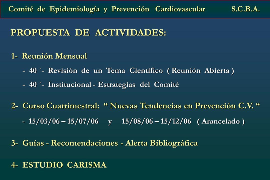 PROPUESTA DE ACTIVIDADES: PROPUESTA DE ACTIVIDADES: 1- Reunión Mensual 1- Reunión Mensual - 40 ´- Revisión de un Tema Científico ( Reunión Abierta ) -