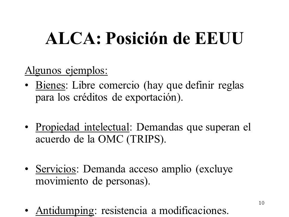 10 ALCA: Posición de EEUU Algunos ejemplos: Bienes: Libre comercio (hay que definir reglas para los créditos de exportación).