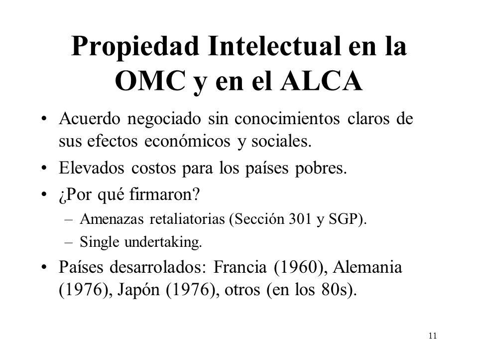11 Propiedad Intelectual en la OMC y en el ALCA Acuerdo negociado sin conocimientos claros de sus efectos económicos y sociales.