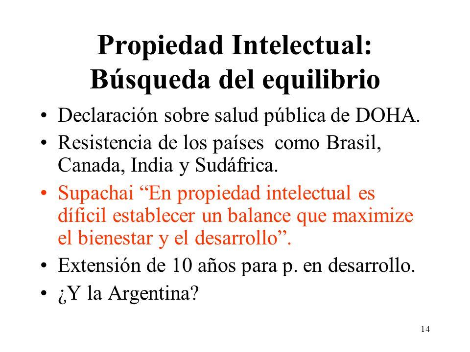 14 Propiedad Intelectual: Búsqueda del equilibrio Declaración sobre salud pública de DOHA.