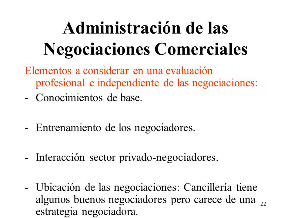 22 Administración de las Negociaciones Comerciales Elementos a considerar en una evaluación profesional e independiente de las negociaciones: -Conocimientos de base.
