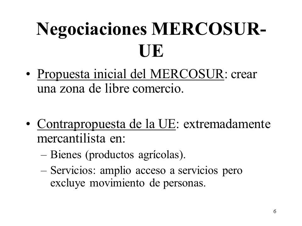 6 Negociaciones MERCOSUR- UE Propuesta inicial del MERCOSUR: crear una zona de libre comercio.