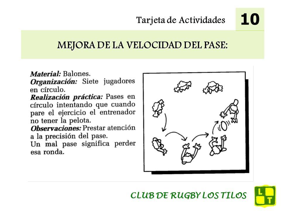 Tarjeta de Actividades MEJORA DE LA VELOCIDAD DEL PASE: 10 CLUB DE RUGBY LOS TILOS