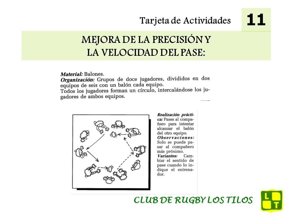 Tarjeta de Actividades MEJORA DE LA PRECISIÓN Y LA VELOCIDAD DEL PASE: 11 CLUB DE RUGBY LOS TILOS