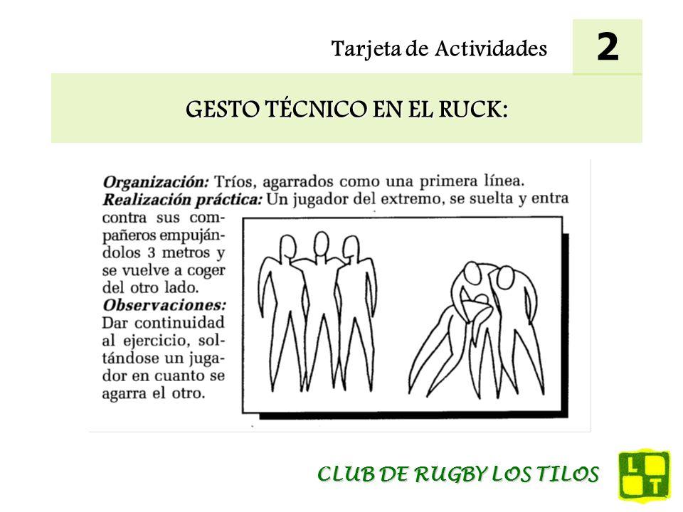 Tarjeta de Actividades GESTO TÉCNICO EN EL RUCK: 2 CLUB DE RUGBY LOS TILOS