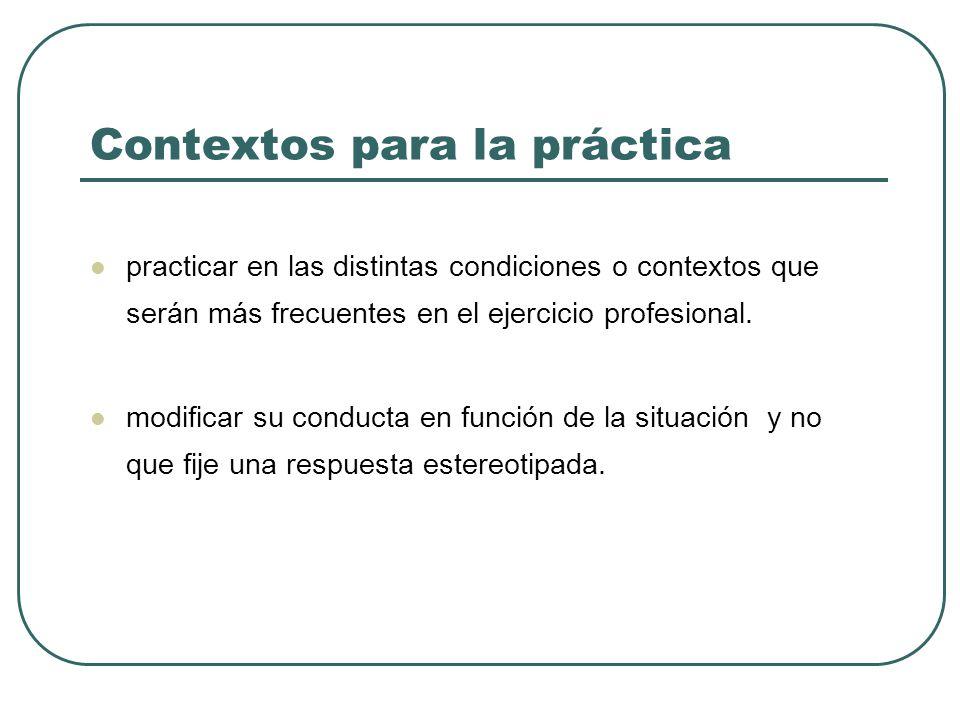 Contextos para la práctica practicar en las distintas condiciones o contextos que serán más frecuentes en el ejercicio profesional.