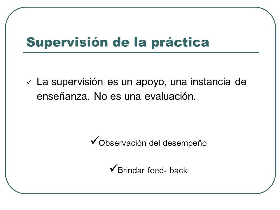 Supervisión de la práctica La supervisión es un apoyo, una instancia de enseñanza.