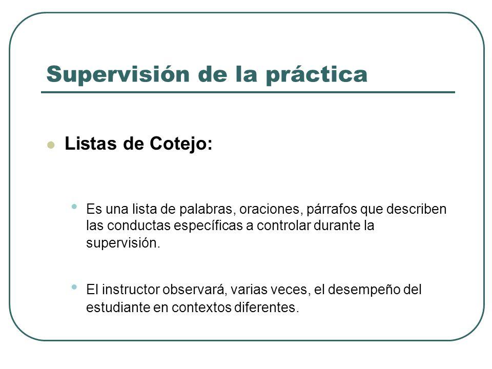 Supervisión de la práctica Listas de Cotejo: Es una lista de palabras, oraciones, párrafos que describen las conductas específicas a controlar durante la supervisión.