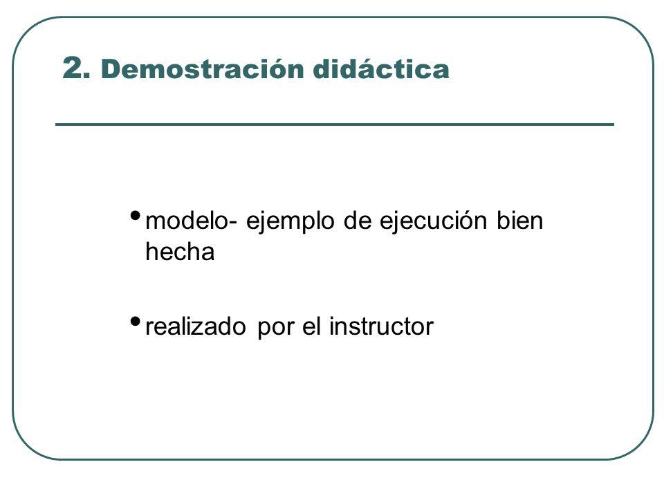 2. Demostración didáctica modelo- ejemplo de ejecución bien hecha realizado por el instructor