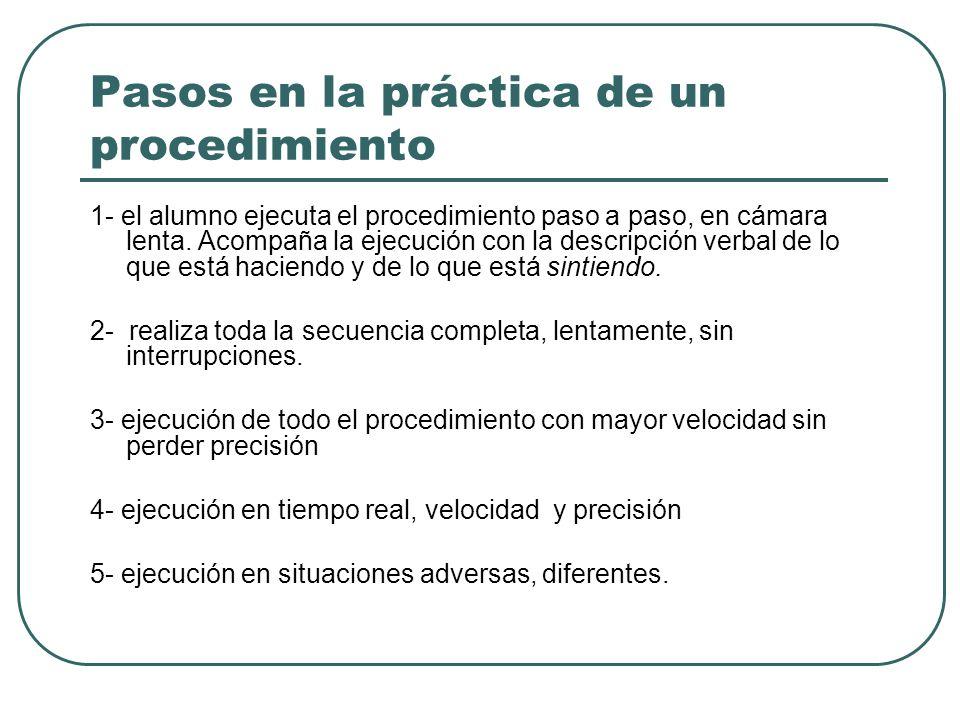Pasos en la práctica de un procedimiento 1- el alumno ejecuta el procedimiento paso a paso, en cámara lenta.