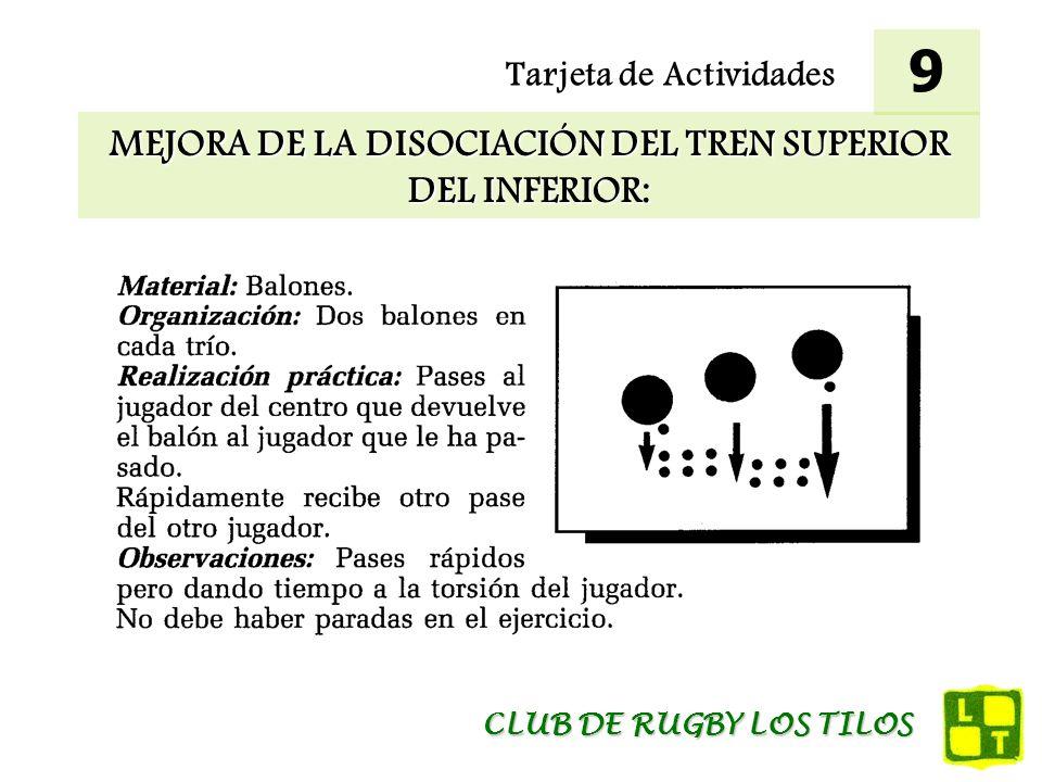 Tarjeta de Actividades MEJORA DE LA DISOCIACIÓN DEL TREN SUPERIOR DEL INFERIOR: 9 CLUB DE RUGBY LOS TILOS
