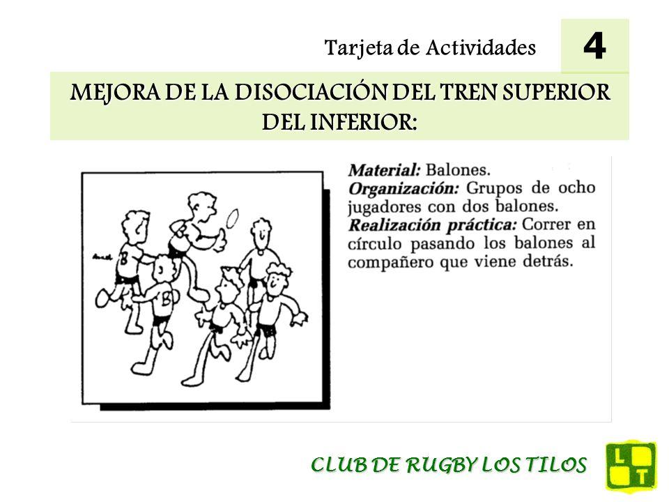 Tarjeta de Actividades MEJORA DE LA DISOCIACIÓN DEL TREN SUPERIOR E INFERIOR EN EL PASE: 5 CLUB DE RUGBY LOS TILOS