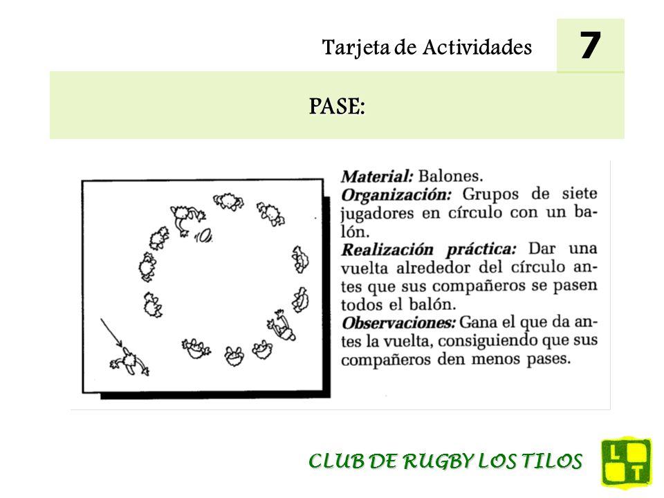 Tarjeta de Actividades PASE: 7 CLUB DE RUGBY LOS TILOS
