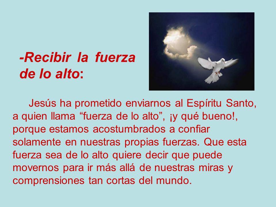 Jesús ha prometido enviarnos al Espíritu Santo, a quien llama fuerza de lo alto, ¡y qué bueno!, porque estamos acostumbrados a confiar solamente en nu