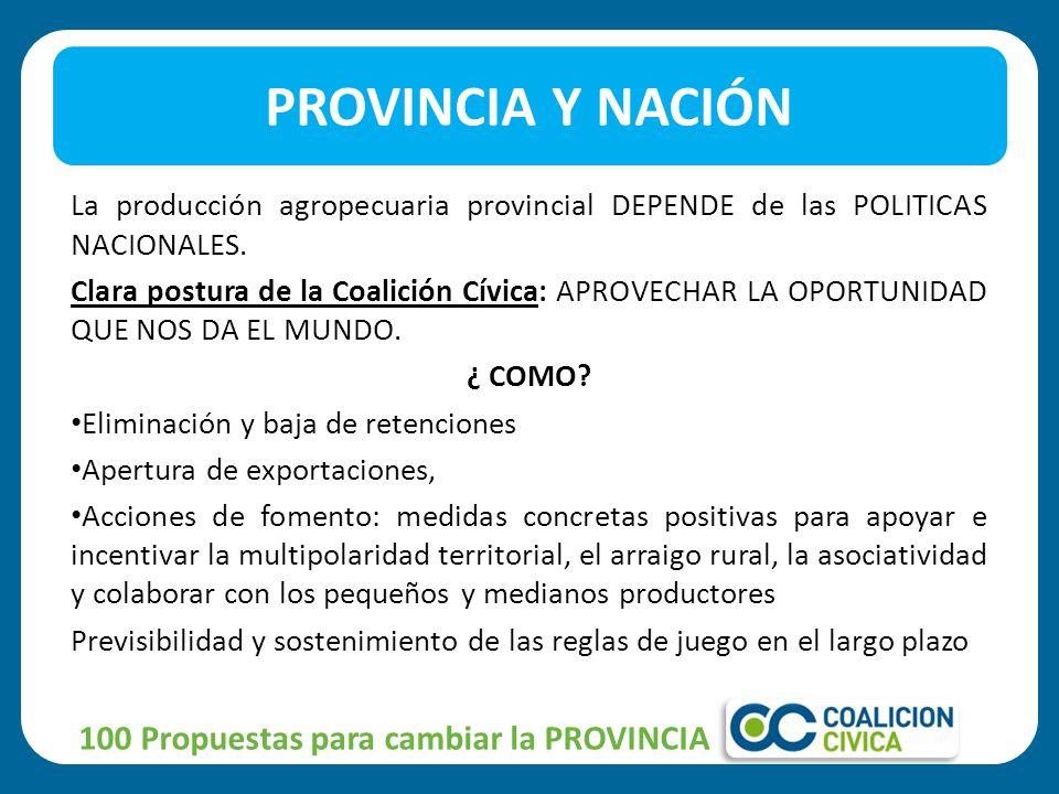 La producción agropecuaria provincial DEPENDE de las POLITICAS NACIONALES.