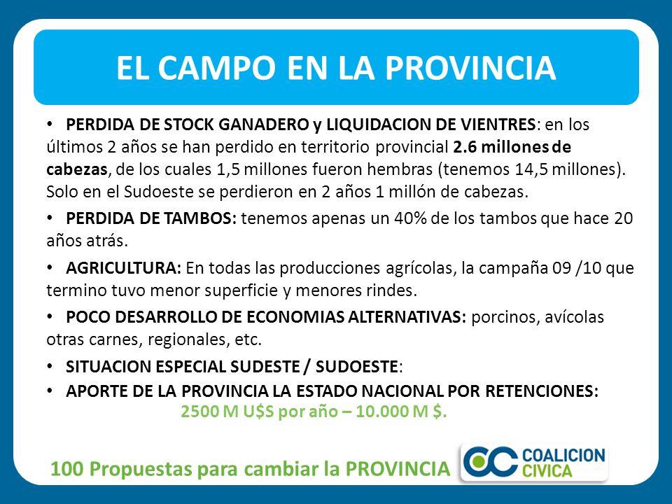 PERDIDA DE STOCK GANADERO y LIQUIDACION DE VIENTRES: en los últimos 2 años se han perdido en territorio provincial 2.6 millones de cabezas, de los cuales 1,5 millones fueron hembras (tenemos 14,5 millones).