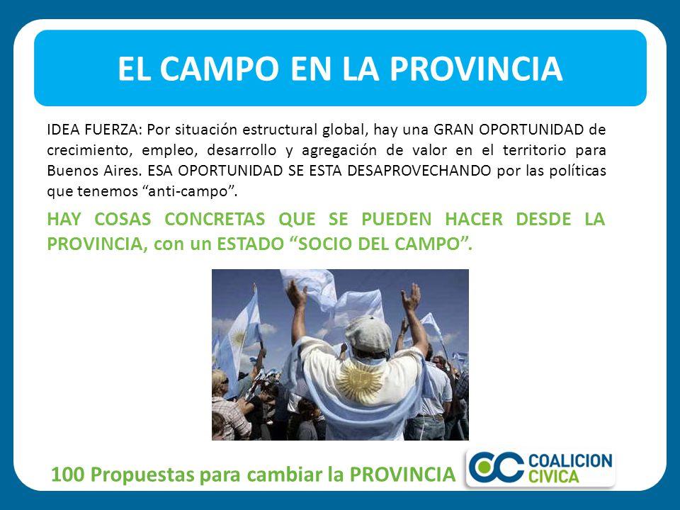EL CAMPO EN LA PROVINCIA 100 Propuestas para cambiar la PROVINCIA IDEA FUERZA: Por situación estructural global, hay una GRAN OPORTUNIDAD de crecimiento, empleo, desarrollo y agregación de valor en el territorio para Buenos Aires.