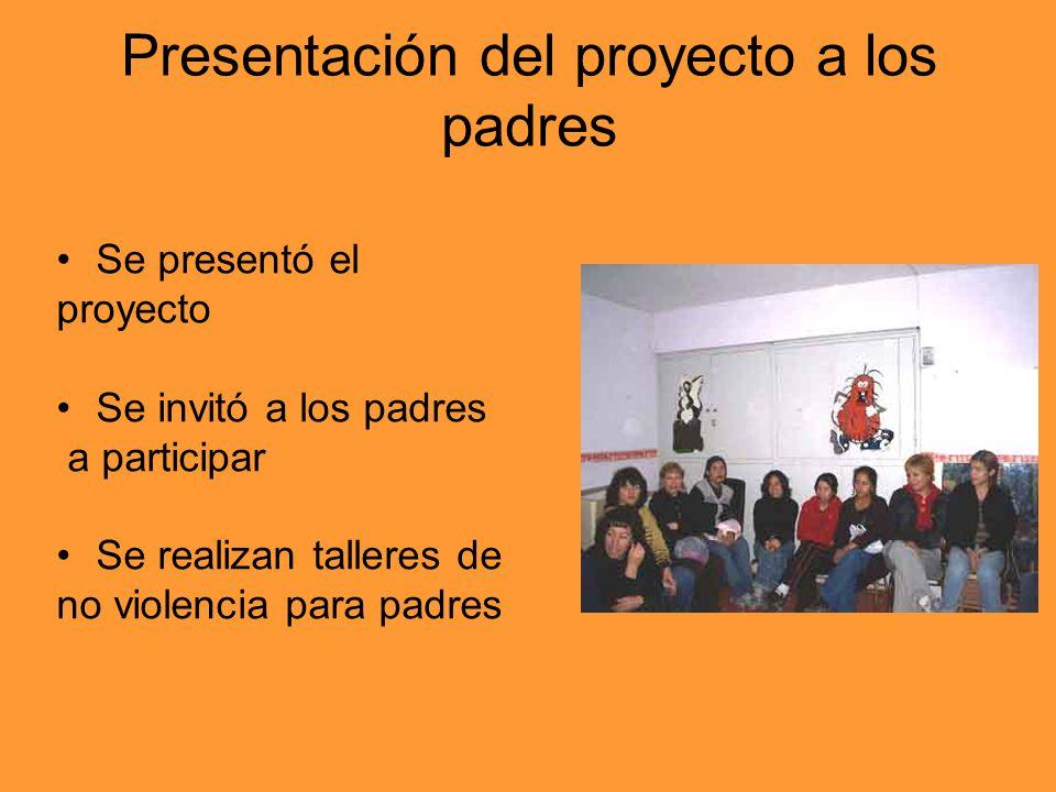 Presentación del proyecto a los padres Se presentó el proyecto Se invitó a los padres a participar Se realizan talleres de no violencia para padres
