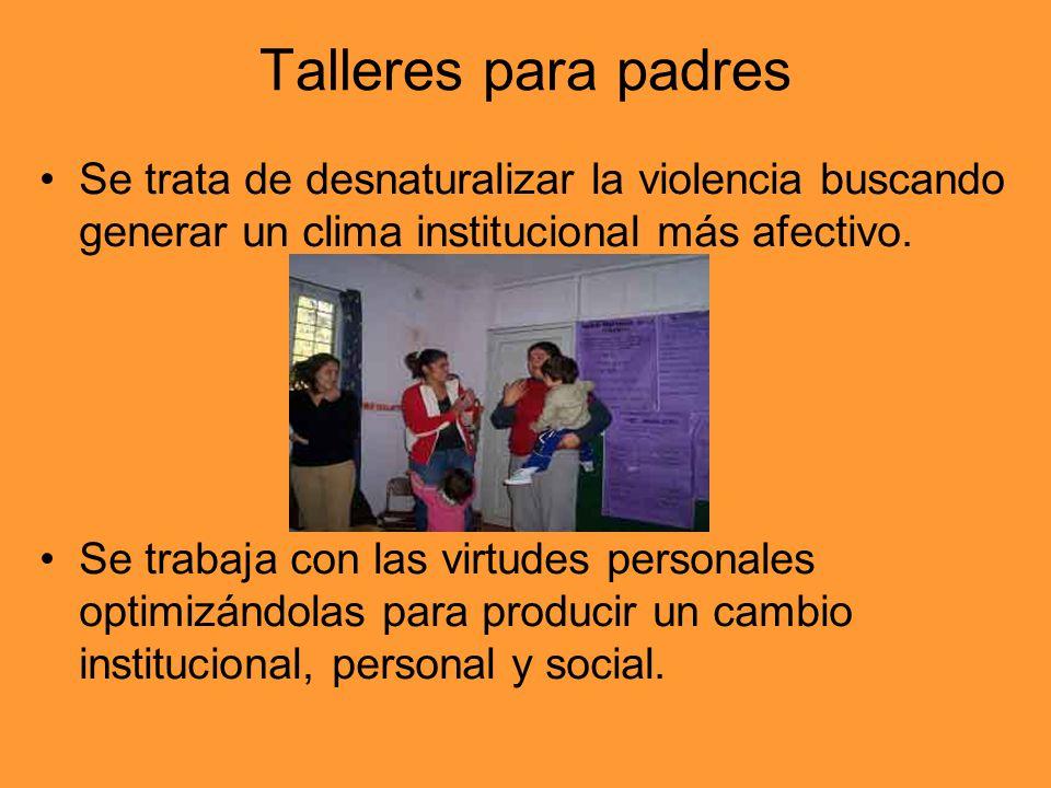 Talleres para padres Se trata de desnaturalizar la violencia buscando generar un clima institucional más afectivo. Se trabaja con las virtudes persona