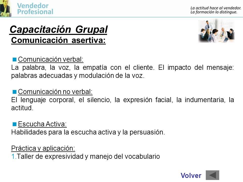 Capacitación Grupal Comunicación asertiva: Comunicación verbal: La palabra, la voz, la empatía con el cliente.