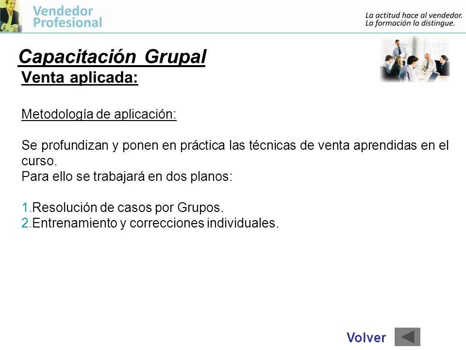 Capacitación Grupal Venta aplicada: Metodología de aplicación: Se profundizan y ponen en práctica las técnicas de venta aprendidas en el curso.