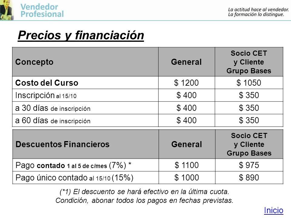 Precios y financiación ConceptoGeneral Socio CET y Cliente Grupo Bases Costo del Curso$ 1200$ 1050 Inscripción al 15/10 $ 400$ 350 a 30 días de inscripción $ 400$ 350 a 60 días de inscripción $ 400$ 350 (*1) El descuento se hará efectivo en la última cuota.